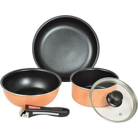 パール金属 フライパン 鍋 5点 セット IH対応 ふっ素加工 取っ手の取れるセット クックウェア セット オレンジ マイライフ HB-3703