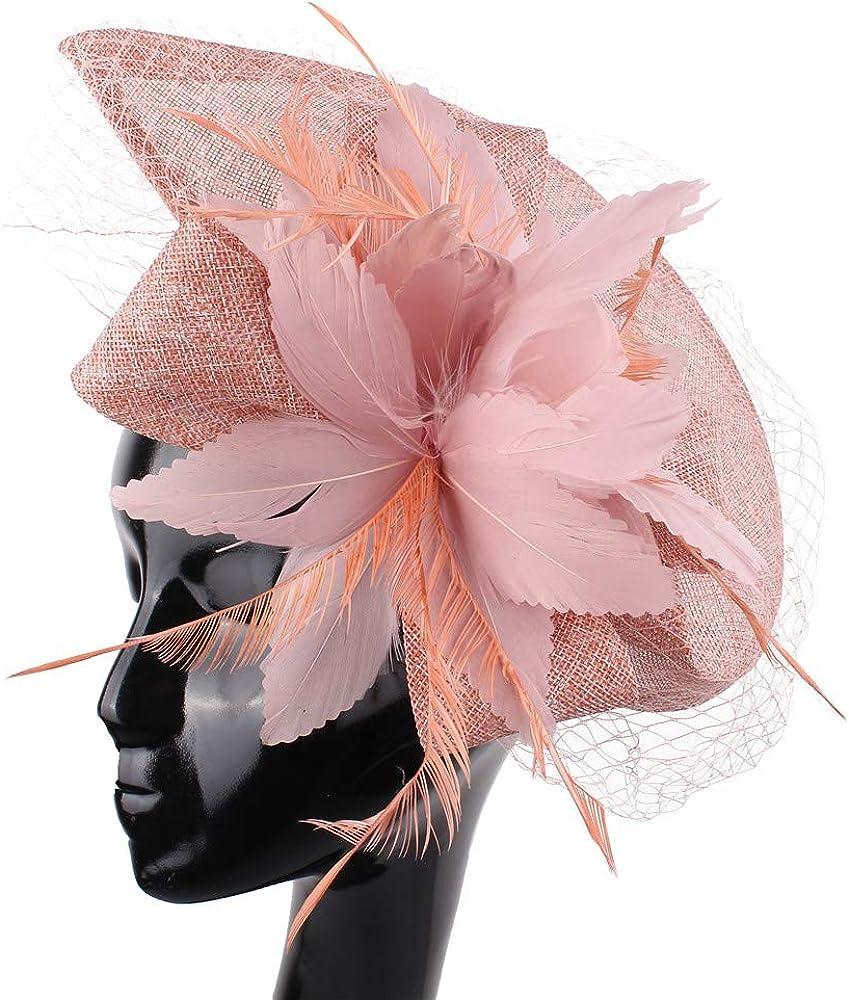 YONQUIL Women Party Married Race Headwear Bridal Wedding Hair Fascinators hat Veil XMF191
