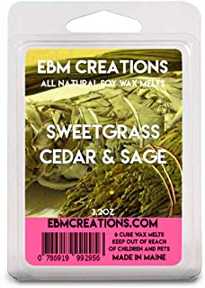Sweetgrass Cedar & Sage – Scented All Natural Soy Wax Melts – 6 Cube Clamshell 3.2oz Highly Scented!