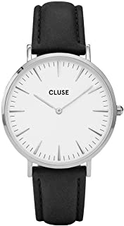 CLUSE La Bohème Silver White Black CL18208 Women's Watch 38mm Leather Band Minimalistic Design Casual Dress Japanese Quartz Elegant Timepiece