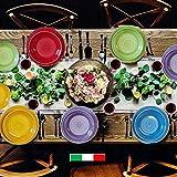 Pagano Home Servizio Made in Italy Piatti Multicolore x 6 Persone con insalatiera 19 Pezzi MOD. Colorfull.