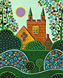 8X10 INCH PRINT OF ORIGINAL PAINTING RYTA ABSTRACT MEXICAN FOLK ART EASTER SUNDAY LANDSCAPE CHURCH ROLLING HILLS INTERIOR HOME SPRING HOUSE DESIGN DECOR DECORATION FINE WALL ART