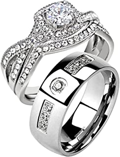 Couple Ring Bridal Set His & Hers His and Hers Wedding Ring Set Stainless Steel Women's Infinity Halo Round CZ Wedding Ring & Stainless Steel Round CZ Men's Wedding Engagement Band