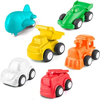 HISTOYE Cars and Trucks Toys for 1 2 + Year Old Boys & Girls, 6 Pack Pull Back Toy Cars for Toddlers, Preschool Baby Play Cars: Learning Vehicles & Colors