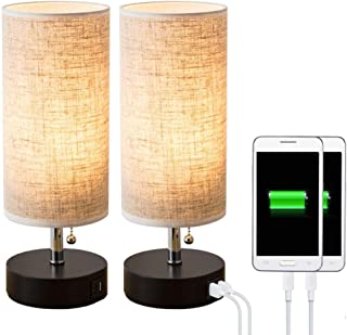 Lifeholder Table lamp, Black Wooden Base Bedside Desk Lamp,Nightstand Lamp with Dual USB Charging Port, Bedside USB Table Lamp Perfect for Bedroom, Living Room or Office (2 Packs)