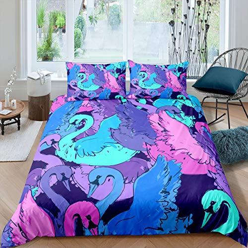 Swan Bettwäsche Set Tie Dye Bettbezug Fantasy Fairy Animal Tröster Bezug für Kinder Mädchen Frauen Dreamlike Aquarell Schwäne Tagesdecken Bezug mit 2 Kissenbezüge 200x200 Blue Red