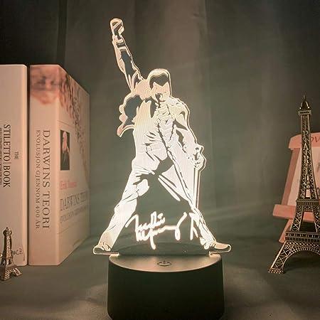 Queen band British Singer Freddie Mercury Figure Best Fans Lampada da tavolo USB a LED a luce notturna 3D Regalo di compleanno per bambini Decorazione da comodino