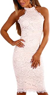 Summer Dresses for Women Sexy Bodycon Crochet Lace Wrap Front Mini Cocktail Party Dress