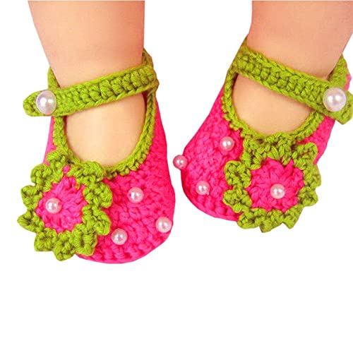 f74ee86d5290 Eleery Newborn Infant Girls Handmade Cute Rose Red Flower with bead Crochet  Knit Socks Booties Crib
