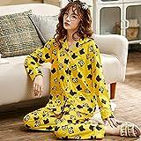 DFDLNL Unisex Adulto Panda Pareja Pijamas Hombres Pijamas Conjunto Completo algodón Mujer Ropa de Dormir otoño Animal Dibujos Animados hogar M FB-Y1301