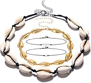 Leint Shell Pearl Choker Necklaces 4 Pieces Natural Cowrie Pearls Seashell Hawaiian Necklace Set for Women Girl Summer Hawaii Beach Adjustable Handmade Jewelry Set