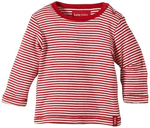 Lana Natural Wear Unisex - Baby T-Shirt Jule, Gestreift, Gr. 62/68, Mehrfarbig (Tomate/Natur 110)