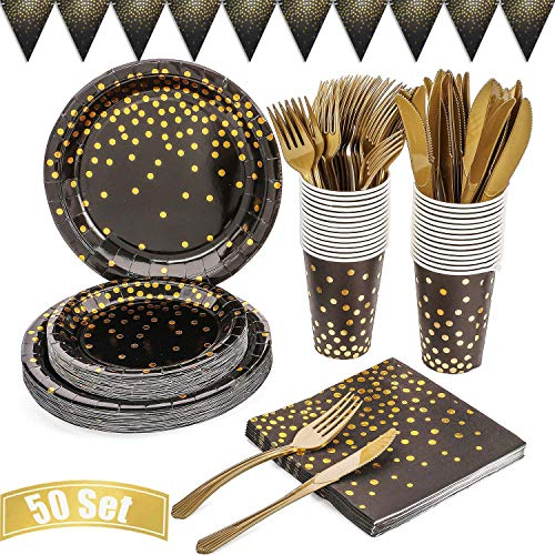 Disposable Paper Dinnerware Sets, Compostable and Biodegradable, Includes Paper Plates, Forks, Knives and Spoons, for Party Camping Picnic
