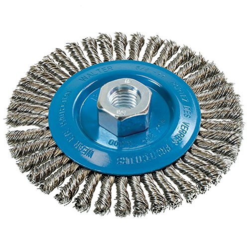 Walter 13K514 Stringer Bead Wire Wheel Brush - 5 in. Stainless Steel Wire Brush with Threaded Hole. Abrasive Power Brushes