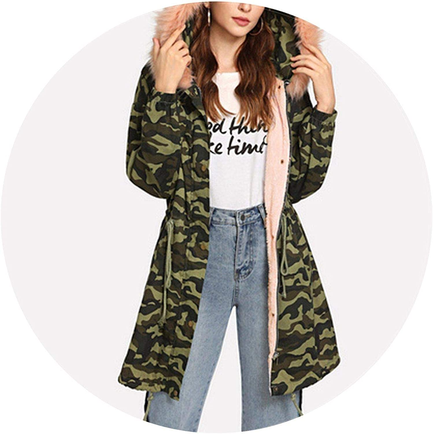 Jifnhtrs Hooded Faux Fur Como Print Jacket Women Coat Sleeve Ladies Outwear Office Warm Winter Coats