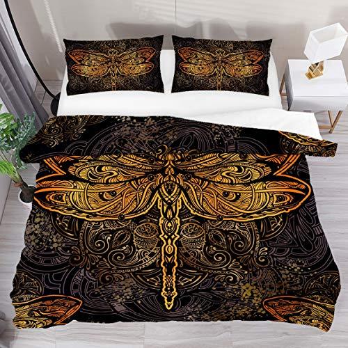 GanLongDian Duvet Cover Set Bedding Quilt Cover for Men Women,Bedding Set Gift,Comforter Cover and Pillowcase,Single Full Double King Size Retro Dragonfly Pattern