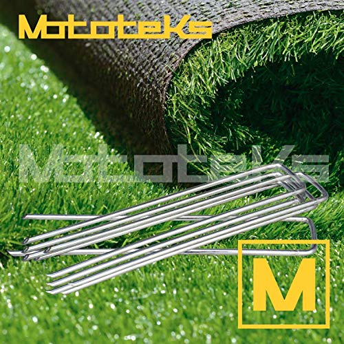 Mototeks, Inc. Artificial Turf Staples Stainless Steel U PINS for Landscaping Synthetic Grass (250)