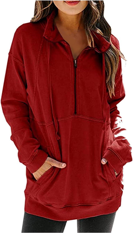 Womens Quarter Zip Sweatshirts Long Sleeve Oversized Pullover Tunics with Pockets