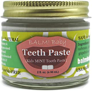 BALM Baby Teeth Paste All Natural Fluoride Free Kids Toothpaste with Xylitol GLASS Jar Made in USA (Fresh Mint) 2 fl oz