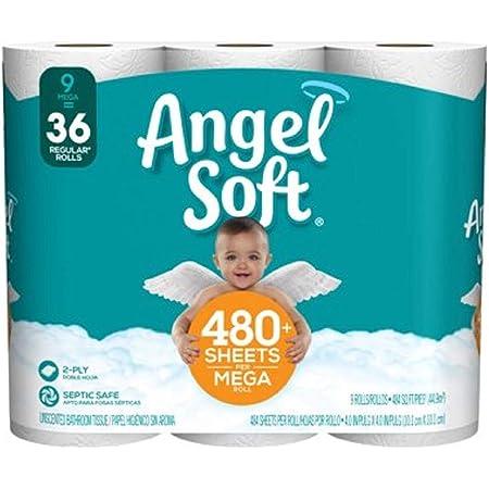 Angel Soft Papel Higiénico 36 Mega Rollos 36 144 Rollos Regulares Papel Higiénico 4 Paquetes De 9 Rollos Health Personal Care