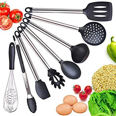 Cooking Utensil Set- 8 Kitchen Utensils- Silicone & Stainless Steel Kit - Serving Tongs, Spoon, Spatula Tools, Pasta Server, Ladle, Strainer, Whisk. Rice & Potato servers