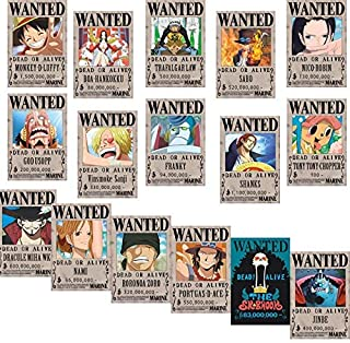 Big Fun One Piece Wanted Posters 42cm×29cm, New Edition, Luffy 1.5 Billion, Set of 16