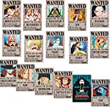 Xiumui One Piece Wanted Posters 42cm×29cm, New Edition, Luffy 1.5 Billion, Set of 16