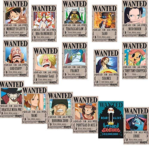 Big Fun One Piece Wanted Poster 42 x 29 cm, New Edition, Luffy 1,5 Billion, 16 Stück