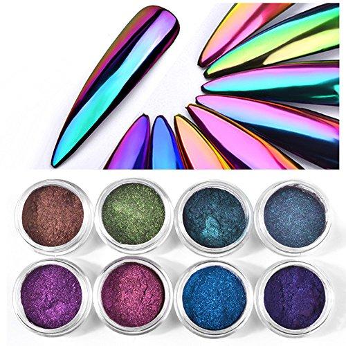 CHARMING MAY 8boxes Chrome Nail Powder Shinning Chrome Pigment Mirror Glitter 0.3G