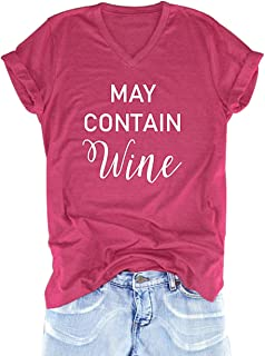 Women May Contain Wine T-Shirt Funny Letter Printed Short Sleeve Top Tee