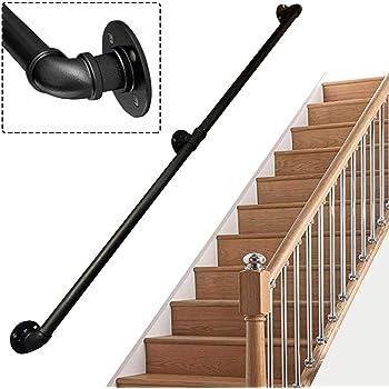 OUG- Pasamanos Baranda de Escalera de Tubo de Hierro Forjado de Estilo Industrial, Baranda de Escalera Antideslizante para Interiores y Exteriores de,Tamaño Personalizable (30-600cm): Amazon.es: Hogar