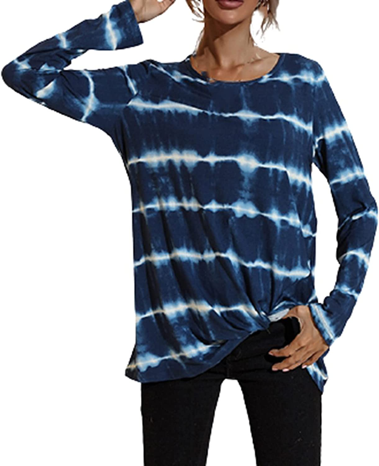 Women's Long Sleeve Tie Dye Printed Striped Pullover Tops Casual Loose Comfortable Shirts Top Blouse Tops