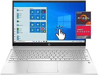 HP 15.6 Pavilion Portable IPS FHD Touchscreen Laptop، AMD Ryzen 7 5700U، 16GB RAM، 512GB PCIe SSD، Wi-Fi 6، HD Webcam، Bac...