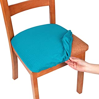 smiry Stretch Spandex Jacquard Dining Room Chair Seat Covers, Removable Washable Anti-Dust Dinning Upholstered Chair Seat Cushion Slipcovers - Set of 4, Peacock Blue