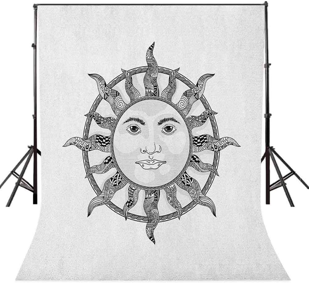 8x12 FT Sun Vinyl Photography Backdrop,Monochrome Ornamental Zentangle Heavenly Body with Human Face Design Pattern Background for Baby Shower Bridal Wedding Studio Photography Pictures
