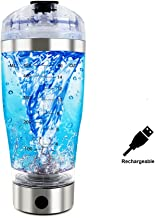 Protein Shaker Bottle,Rechargeable 16oz Vortex Mixer for Protein Mixes,Stainless Steel Electric Protein Shake Cup,Portable High-Torque Tornado Shaker,Automatic Stirring Blender for Powder (16oz)