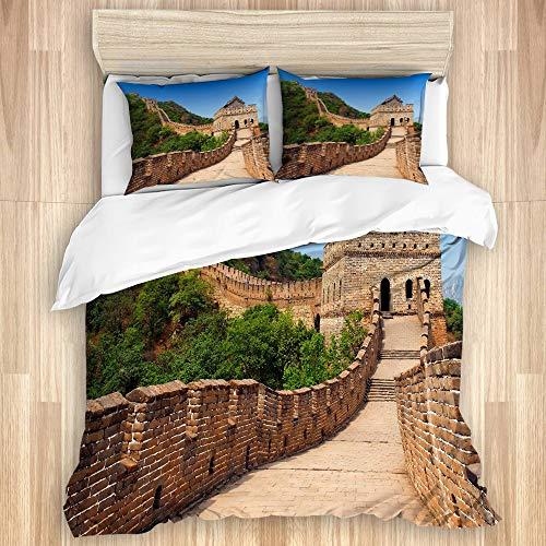 GOCHAN Funda de edredón,Arquitectura de fama Mundial Gran Muralla China Pared de ladrillo Vintage, Juego de Cama Suave de Lujo de 3 Piezas, tamaño King