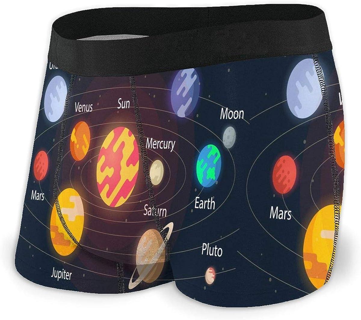 Dujiea Solar System Eight Planet Boxer Briefs for Men Boys Teen Black Men's Cotton Soft Breathable Boxers Underwear