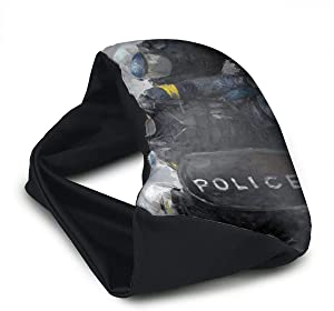 Voyage Travel Pillow Eye Mask 2 in 1 Portable Neck Support Scarf Police Artwork Ergonomic Naps Rest Pillows Sleeper Versatile for Airplanes Car Train Bus Home Office