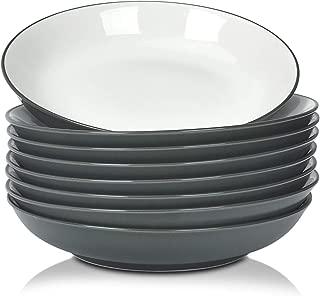 TGLBT Pasta/Salad Bowls 15 Ounce - Set of 8, Serving Bowl Set,Gray
