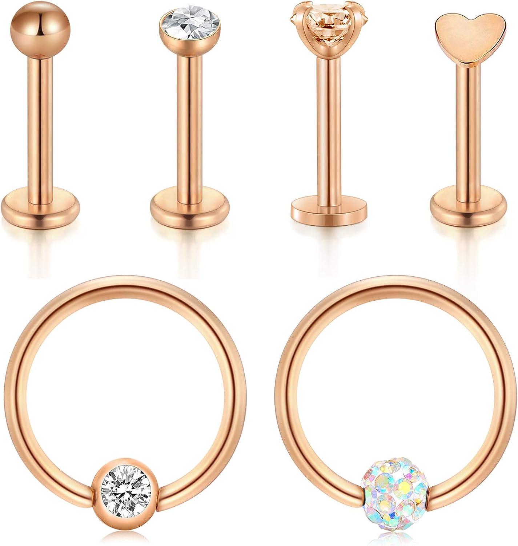 JFORYOU Tragus Earring 12pcs 16G Surgical Steel & Opal CZ Nature Stone Lip Labret Helix Cartilage Conch Studs Piercing Jewelry for Women Men