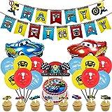 Miotlsy 38 Pezzi Decorazioni di Festa Auto da Corsa Set Banner di Compleanno da Corsa Bandiere a Palloncini per Bambini Ragazzi Racing Forniture per Feste di Compleanno
