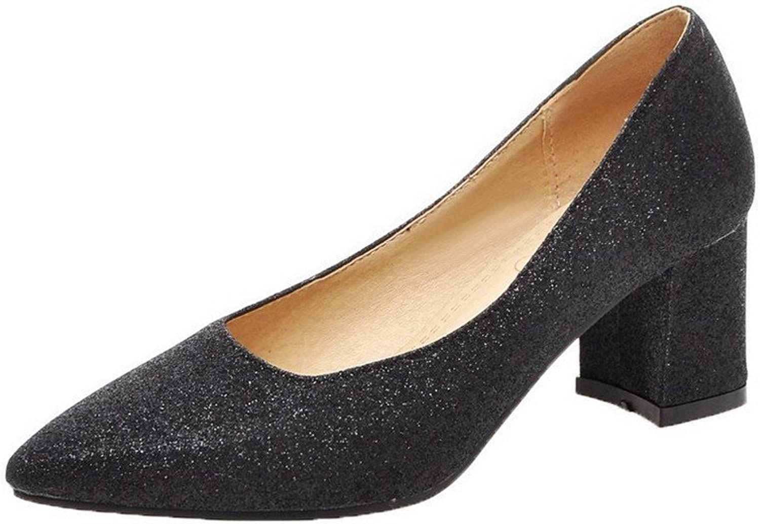 AmoonyFashion Women's PU Pointed-Toe Kitten-Heels Pull-on Studded Pumps-shoes