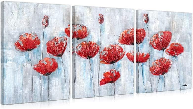 B BLINGBLING Red Abstract Flower Wall Art: Red and Grey Poppy Floral Wall Decor for Bedroom Living Room Framed and Ready to Hang 12x16 x3panels