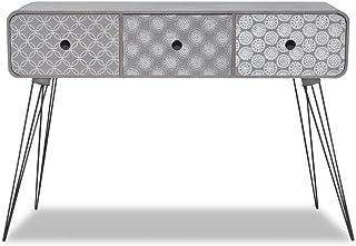 Vislone Mesa Consola Entrada de Diseño Elegante con 3 CajonesMDF y Acero99x355x70cm Gris