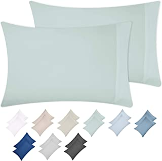 California Design Den Silver Sage Pillow Case Set - Standard Size 100% Natural Cotton Pillow Cases, 500 Thread Count, 2 Piece Solid Sateen Weave Pillow Cover Set