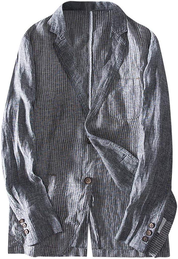 LISTHA Men's Slim Fit Linen Blend Pocket Stripe Long Sleeve Suits Blazer Outwear