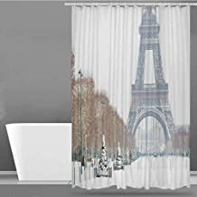 VIVIDX Bathroom Shower Curtain,Winter,Eiffel Tower Covered in Snow Outdoors Champ de Mars Tourist Attraction Paris France,Shower Curtain bar,W108x72L