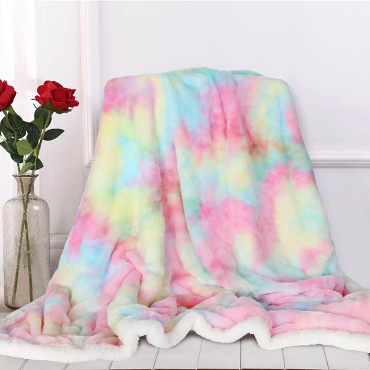 Sleepwish Fashionable Cute Fuzzy Unicorn Blanket - Decorative Girls Rainbow Ranking TOP18