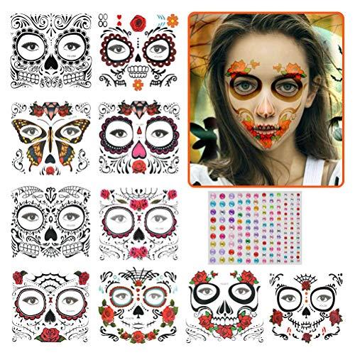 10 hojas de pegatinas de tatuajes de cara de Halloween, tatuajes de cara temporales, calavera de azcar, esqueleto negro, tela de rosas rojas, tatuaje de Halloween para adultos, nios